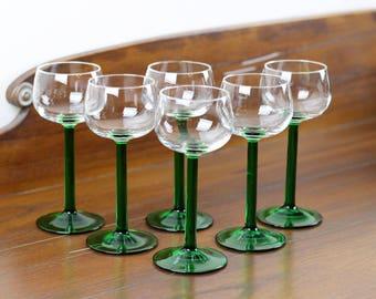 Vintage Wine Glasses JG Durand Luminarc Green Stem Wine Glasses Made in France Set of 6