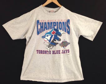 VTG 1993 Toronto Blue Jays T-Shirt - Large - Nutmeg Mills - MLB - World Series Champions - Bluejays - Vintage Tee - Vintage Clothing -