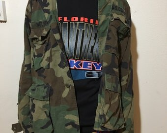 Vintage Camo Jacket - Large - Short - USAF - US Air Force - Army Jacket - Camouflage - Grunge Jacket - Militaria - Marines - US Coast Guard