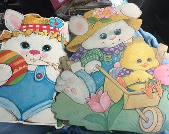 2 diecut farm farmer bunny rabbit easter spring decorations vintage