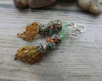 The Turn of the Season Earrings. Art jewelry. Lampwork. Kim Snider Wings. Sterling silver. Fine Gemstone jewelry. Uk artist. Gift for her.
