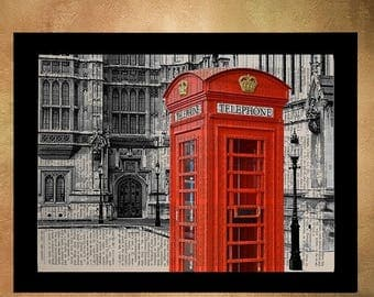 SALE-SHIPS Aug 22- London Red Phone Booth Dictionary Art Print Architecture England UK Britain Travel Gift Ideas Wall Art Decor da785