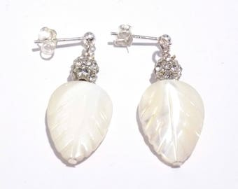 Earrings, mother of pearl earrings, white earrings, pearl jewelry, gift for her, crystal earrings, dangle earrings, silver earrings