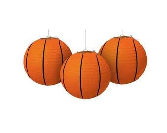 Set Of Three 9 1/2 Inch Basketball Paper Lanterns - Fun Sports Theme Birthday & Team Party Decorations!