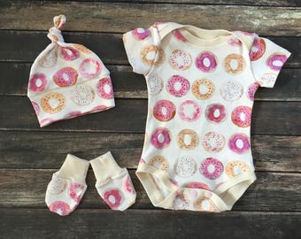 Organic Baby Clothes - Donut Days - organic coming home, natural baby clothes, organic modern baby, donut baby clothes, newborn girl outfit