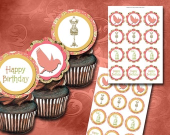 Shabby Chic Cupcake Toppers Instant Download Printable Cupcake Toppers