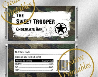 Army Chocolate Wrappers - Instant Download - Printable Chocolate Wrappers - Military