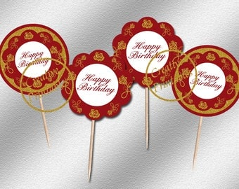 Instant Download, Red & Gold Cupcake Toppers, Cupcake Toppers, Party Circles, Elegant Party Ideas