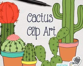 Cactus Clip Art - cacti and houseplant illustrations - cacti clipart in green, terra cotta, pink, yellow & blue - commercial use CU OK