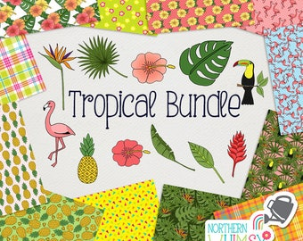 Tropical Digital Paper and Clip Art BUNDLE - save 50% on Northern Whimsy hand drawn sets!  Small commercial use (CU) license included