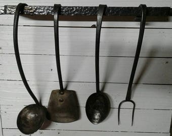 Hand forged Kitchen utensil set with hanger, blacksmith made kitchen spoon, spatula, meat fork, and ladle, cook set, rustic look,