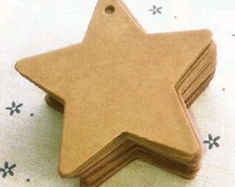 50 labels star cardboard - star Christmas decoration, DIY Tag...
