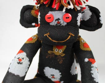 Sock Monkey, Santa and Reindeer, Christmas, Holiday Gift, Black Red Brown White, Unisex Gift, Christmas Decoration, Plushie, Stuffie