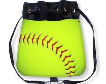 Softball Purse-Softball Cinch Sack-Yellow Softball Backpack-Sports Bag-Softball Bag-Cross Body Bag-Boho Backpack-Cinch Bag-Messenger Bag