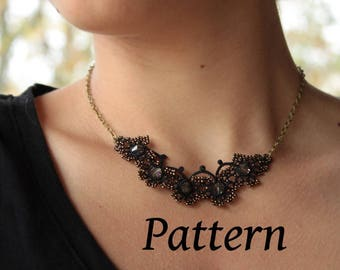 Tatting pattern for a necklace - needle tatting lace  - shuttle tatting or needle tatting DIY - tatting pattern frivolity