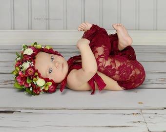 RTS Newborn floral bonnet Burgundy  flower bonnet Flower baby hat Red flower bonnet Flower hat Flower Bonnet Burgundy