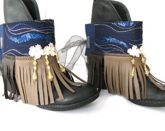 Elegant boot cuffs/ darkblue boot cuffs/tassel-beads- guipure