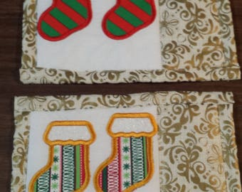 Applique Christmas stocking Mug Rugs