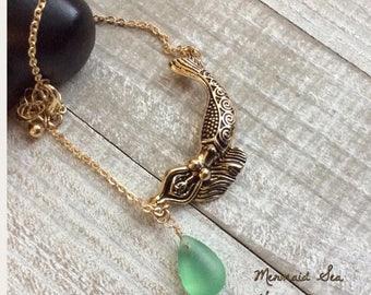 Mermaid Anklet, Ankle Bracelet, Gold Anklet, Silver Anklet, Mermaid Jewelry, Beach Anklet, Mermaid Sea Glass, Sea Glass Anklet, Jewellery