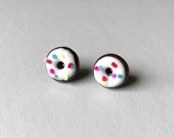 Donut Stud Earrings Doughnut Jewelry Chocolate Donut Earrings -Small