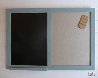 Large blackboard / chalkboard / Pin board Aged Duck Egg Blue- Handmade.