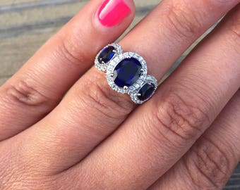 Deep Blue Sapphire 3 Stone Engagement Ring Sterling Silver .925 White Sapphire Halo Synthetic Sapphire Lab Created Sapphire