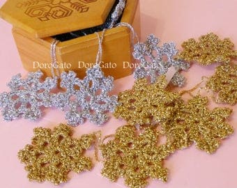 Gold Snowflakes, Silver Snowflakes, Sparkling Ornaments, Tree Decoration, Shimmering Snowflakes, Christmas Ornaments, Set Of 6