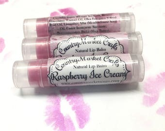 Raspberry Ice Cream Lip Balm Natural Bees Wax Lip Balm - Stocking Stuffer Stocking Stuffer Christmas Gifts