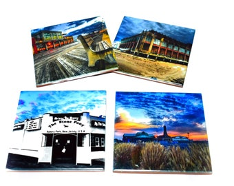 Asbury Park Coaster Set of 4 / The Stone Pony, Convention Hall, Asbury Park Boardwalk, Asbury Park Casino / Jersey Shore Coasters