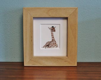 Giraffe Watercolour Painting - Animal - Framed Giclee print - Nature Art Poster - Picture and gift for the home - Mini Frame