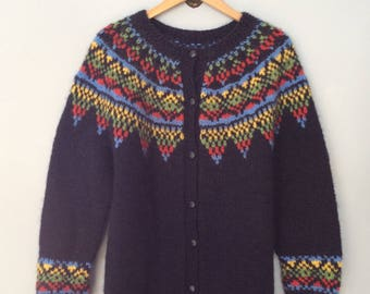 1980s Navy Fair Isle Cardigan