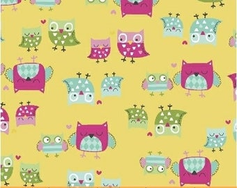 It's A Hoot-Yellow Mother and Child Owl Fabric-Whistler Studios-Windham Fabrics - 100% cotton-by the half yard