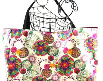 """XXL Totebag made of coated canvas and faux """"Bohemian"""""""