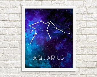 Aquarius Constellation, Zodiac, Sign, Stars, Galaxy, Space, Outer Space, Horoscope, Watercolor, Print - Digital File Only