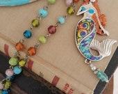 Mermaid of the Sea multi color vintage bead necklace