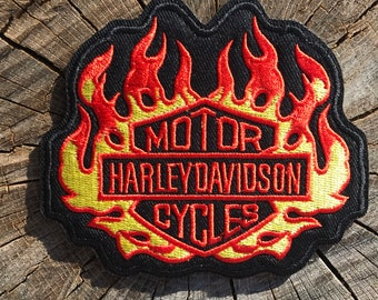 Motorcycles Biker Bike Flames Sturgis Punk Iron On Patch