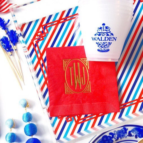 monogram cocktail napkin, monogrammed wedding napkins, foil stamped napkins, personalized napkins, reception napkin, fourth of july napkins