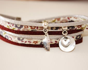 Bracelet lucky Corsica silver & Maroon