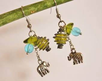 """An elephant in the summer"" earrings green & turquoise"