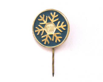 SALE, Happy New Year, Soviet badge, 1971, Snowflake, Christmas, Vintage collectible badge, Soviet Vintage Pin, USSR, 1970s