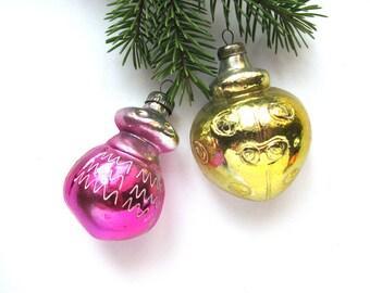 2 Beetles, Set of 2 Glass Christmas ornaments, Soviet Christmas tree decoration, Bug, Xmas, New Year, Russian Toy, USSR, Soviet Union, 1970s