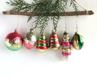 6 red green glass Christmas tree ornaments, Soviet Xmas tree decoration, Pig, Pinecone, New Year, USSR, Soviet Union, 1970s