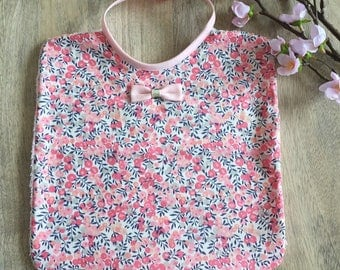 Bib Liberty Wiltshire sweet pea pink and gold, large model