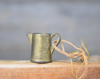 Miniature Pitcher, Cast Metal, Pitcher Charm, Rustic Miniature, Mini Pitcher, Tiny Pitcher, Bronze Colored, Patina, Vintage Miniature