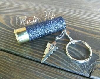 Glitter 12 Gauge Shotgun Shell Keychain with arrowhead, rustic, key chain, Any Color