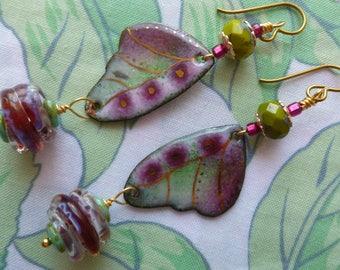 Fairy Wing Dangles, Enamelled Copper Earrings, Boho Earrings, Butterfly Wing Charms, silverfishdesigns, liliemaux,  Northernblooms