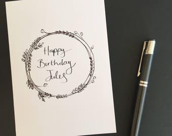 Hand Drawn Personalised Birthday Card