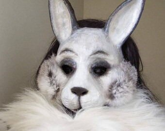 Masquerade mask Rabbit mask Hare mask Bunny mask Animal mask Paper mache mask Rabbit head Rabbit costume Halloween mask