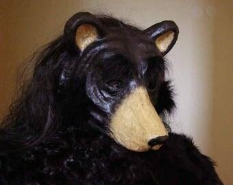 Bear mask Halloween mask Scary mask Masquerade mask Animal mask Paper mache mask Adult mask