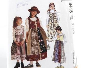 Children Girls Jumper Patchwork Pattern, UNCUT Sewing Pattern, McCall's 8415 - Size 7-10